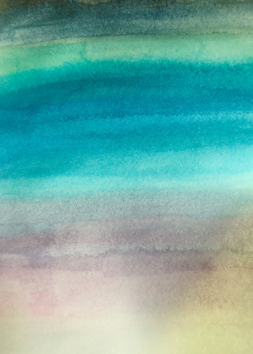 Watercolor painting that looks vaguely like a beach scene: tan at the bottom, turquoise in the middle, and dark green at top.