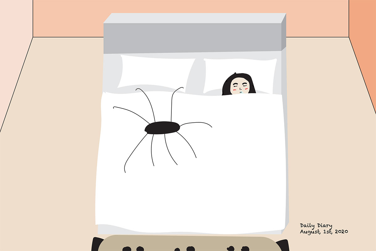 Crude digital drawing of a girl in bed, next to a spider almost as big as her. Text reads: Daily Diary, August 1st, 2020.