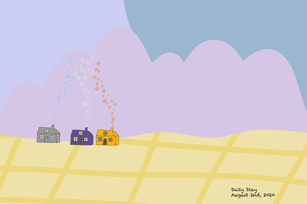 Crude digital drawing of a fantasy landscape: three colorful houses on a golden field and billowy pink clouds in the sky. Text reads: Daily Diary, August 2nd, 2020.