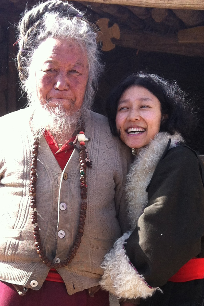 Druko Gyal with her grandfather