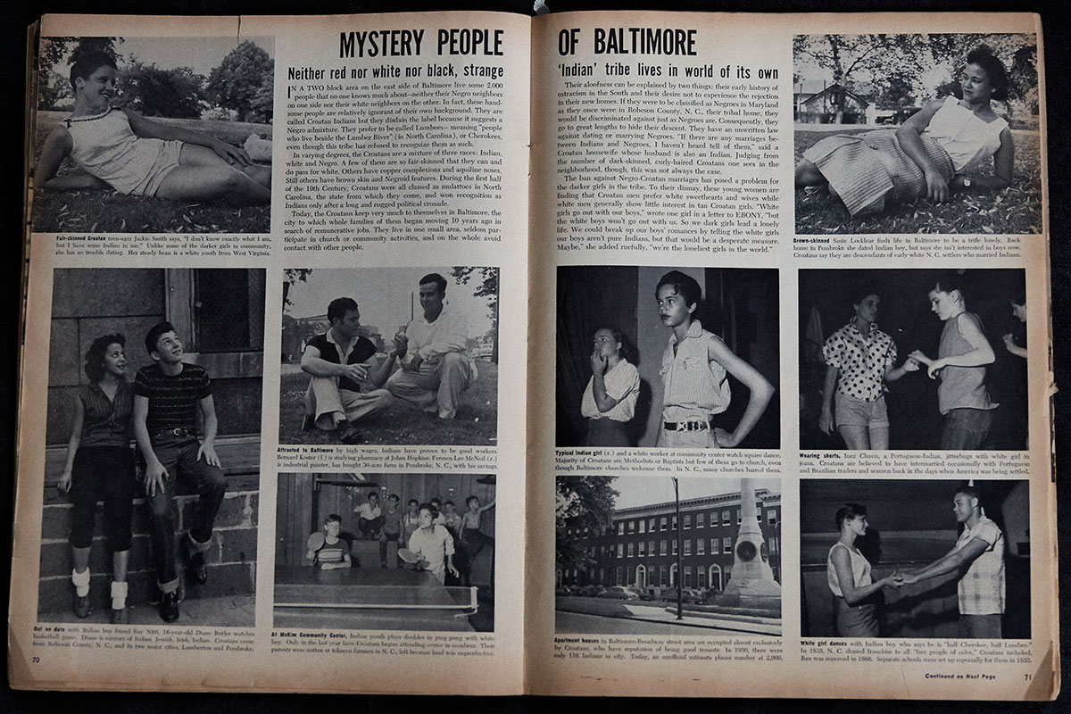 Magazine feature spread with the headline: MYSTERY PEOPLE OF BALTIMORE, with photos of several young Lumbee people, with varying skin tones.