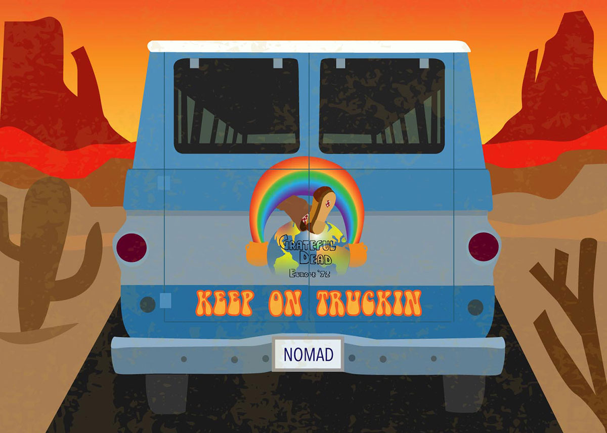 Digital illustration of the back of a blue van driving through the desert. The back doors are painted with the words KEEP ON TRUCKIN, and the license plate reads NOMAD.