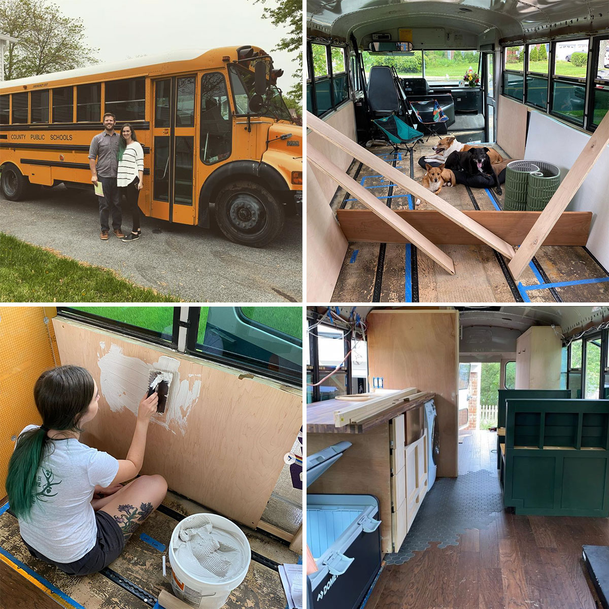 Four photos in a grid: a couple posing in front of a yellow school bus; the gutted interior of the bus, with three dogs lying on the floor; a woman sitting on the ground, coating an interior wall of the bus with plaster; the interior of the bus after much renovation, with a kitchen counter, ice chest, and dining booth.