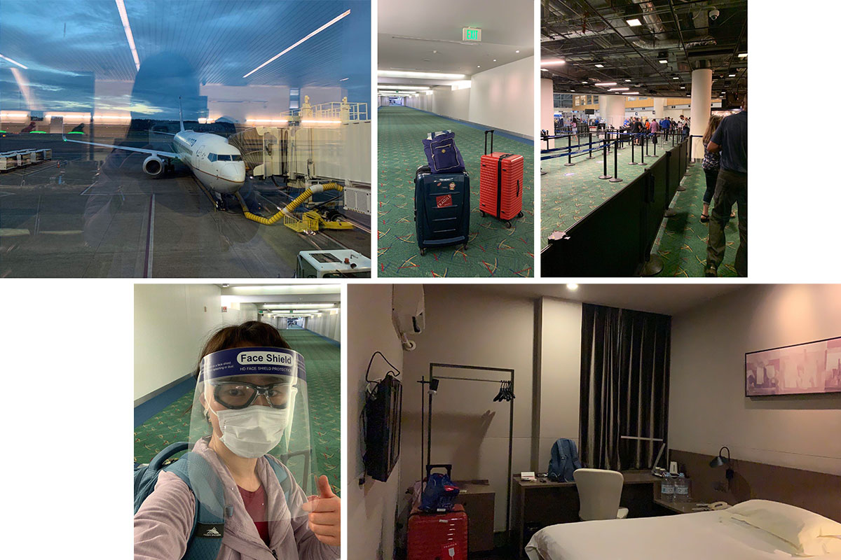 Collage of images from a near-empty airport and a hotel. In one, a young traveler gives us a thumbs up, wearing a face mask and face shield.