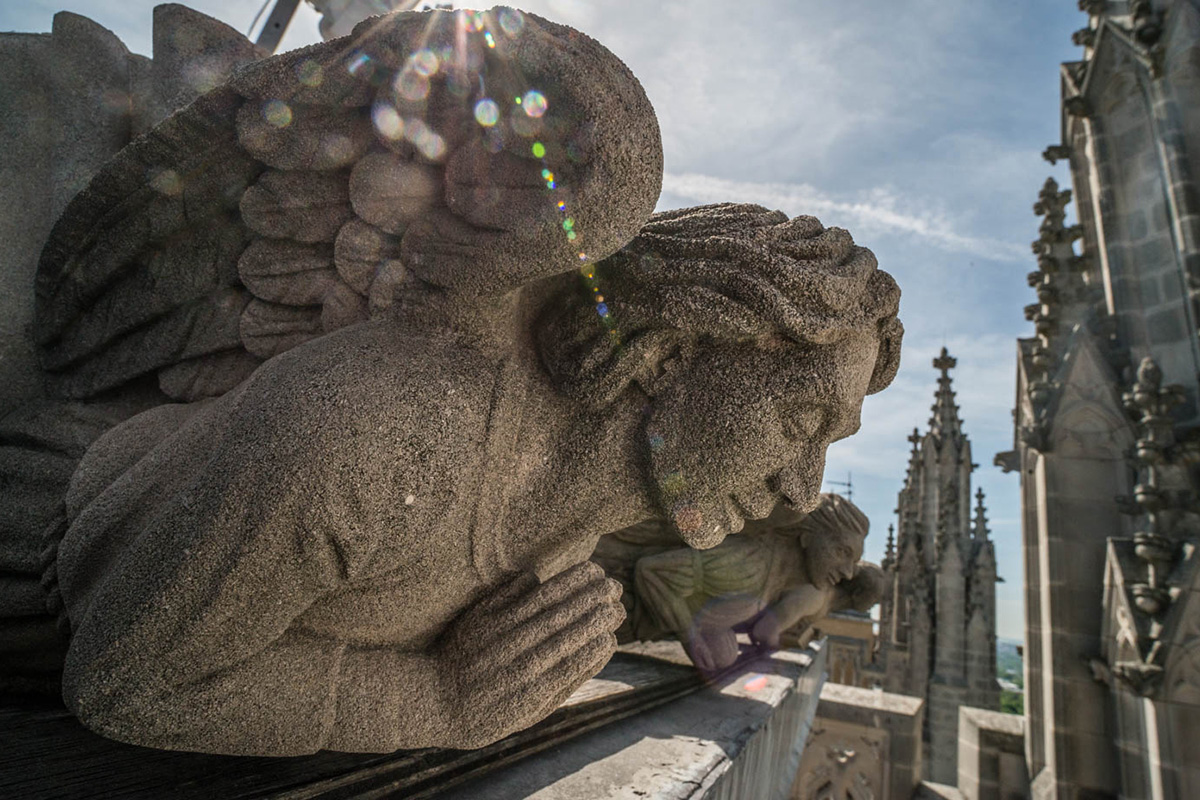 A carved stone angel, hands folded in prayer, seems to overlook the National Cathedral froma high perch. The angel's wings are partly obscured by lens flare from the sun.