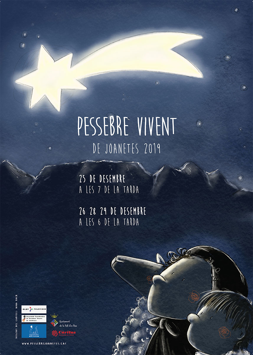 Flyer for Living Nativity event in 2019, with text in Catalan language. Illustration of two kids and a sheep watching a shooting star.