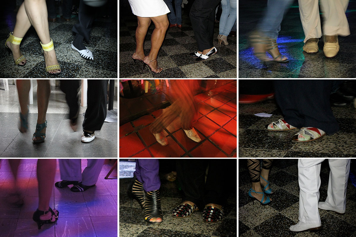 Grid of nine close-ups on feet of people salsa dancing, many in fancy leather shoes.