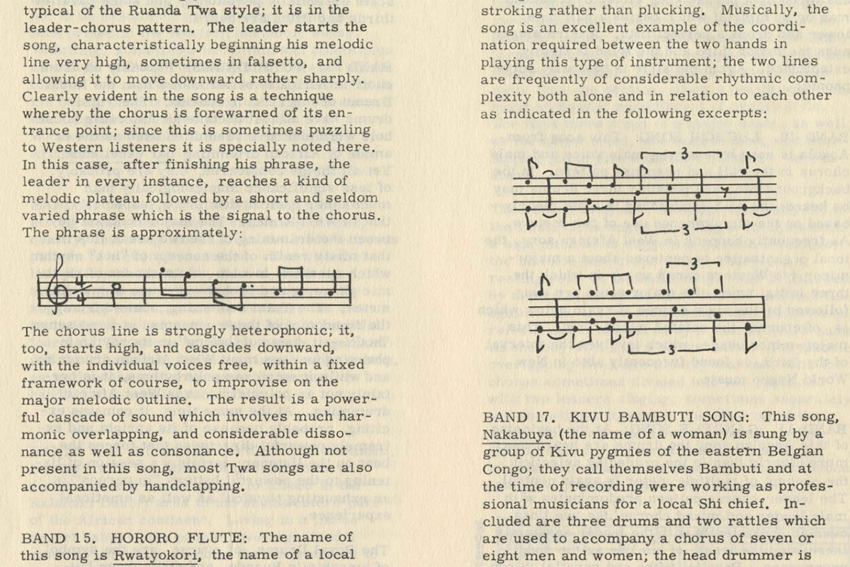 Excerpt of liners notes, showing two examples of Western musical notation among the text.