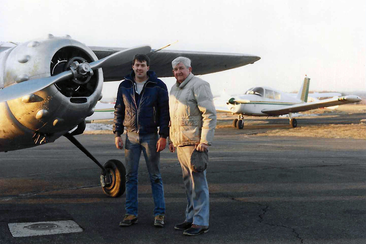 Paul Dougherty Sr. and Jr. with Cessna 195