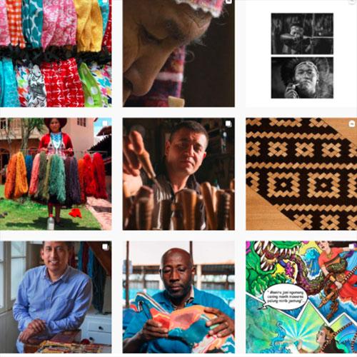 Grid of nine Instagram images of artisans.
