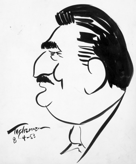 Moses Asch caricature, 1953