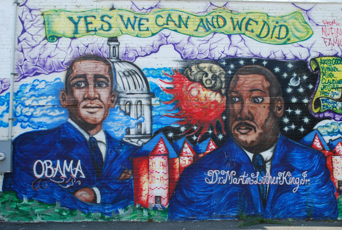 This mural of President Barack Obama and Martin Luther King Jr. was completed just days after the 2008 presidential election.