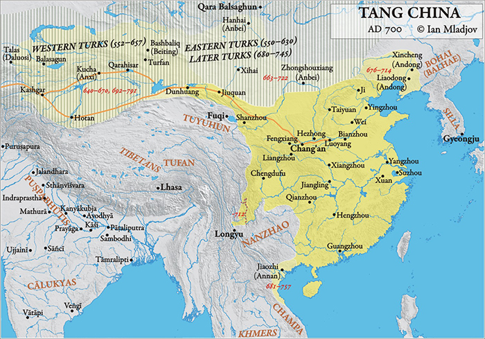 Circa 700 CE, the Tang dynasty occupied the most land, sharing a border with the Bohai Kingdom.