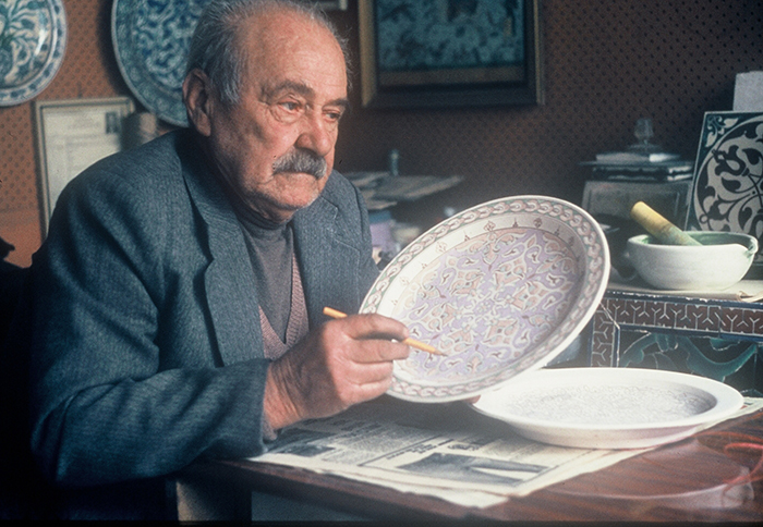 Ahmet Şahin in his studio. Şahin participated in the 1986 Folklife Festival as a cultural conservation participant.