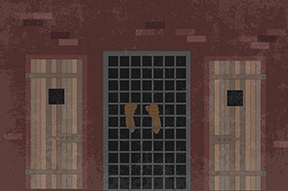 Digital illustration of two hands grasping the metal bars of a jailhouse window.