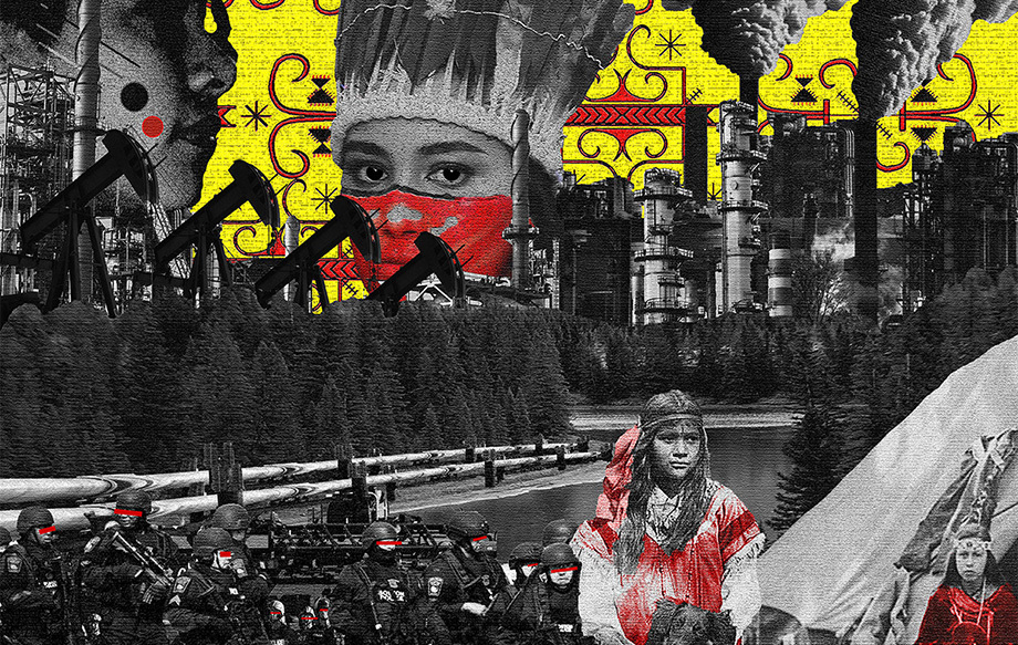 Collage rtwork of Native American faces, oil derricks, smoke stacks, and armed police
