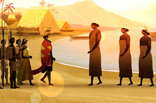 Animated frame of what appears to be two tribes walking toward each other in greeting. Sea, straw huts, and mountains behind them.