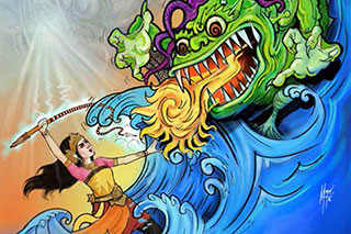 Illustration of a young female superhero fighting a fire-breathing water monster.