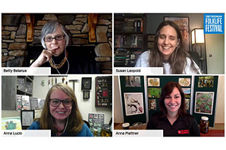 Betty Belanus, Susan Leopold, Anna Lucio, and Anna Plattner in an online discussion