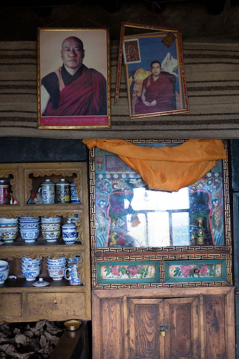 Photos of home shrine in Sonak Village, Zeku County, Huangnan Prefecture, Qinghai Province.