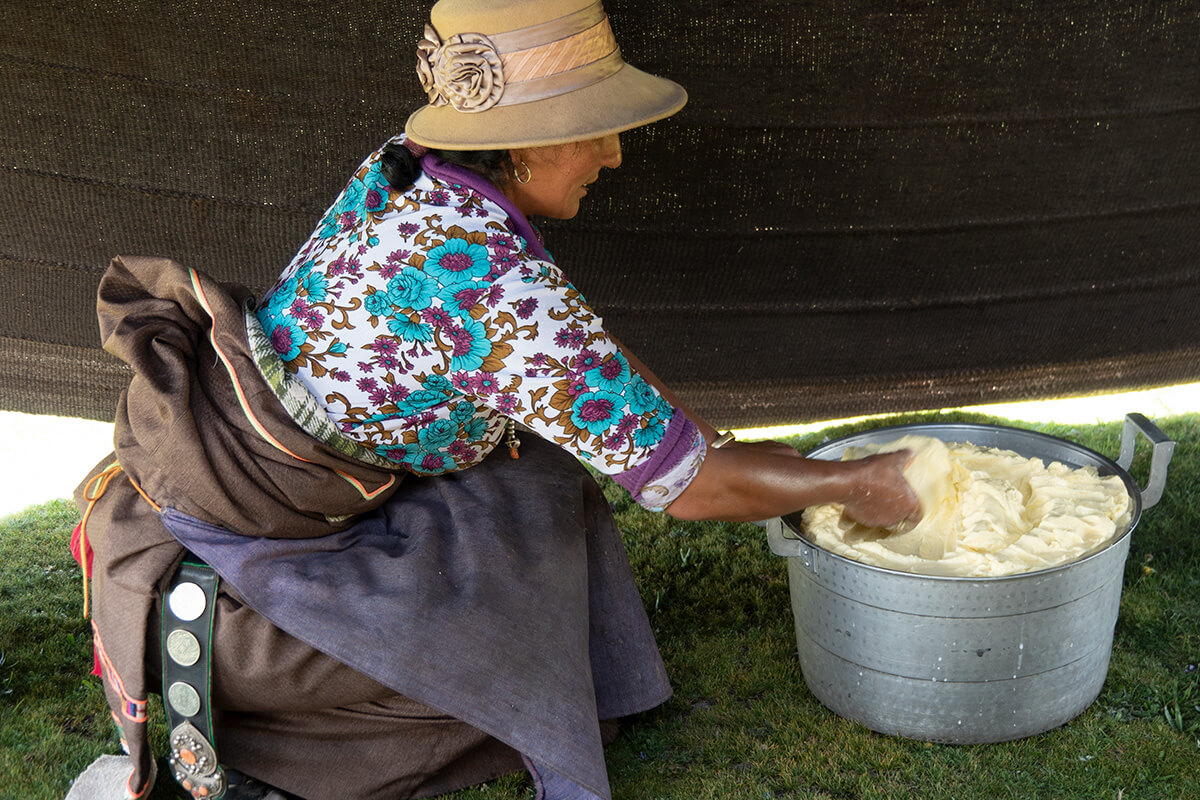 Making butter in Sonak Village, Qinghai Province.