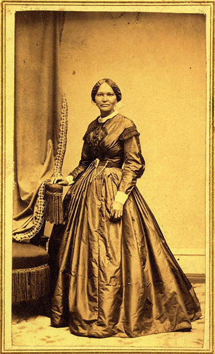 Elizabeth Keckley (1818–1907) was born into slavery in Dinwiddie County, Virginia. She developed a talent for needlework, and she purchased her freedom with the earnings she made as a skilled dressmaker. In 1861, she began working for First Lady Mary Todd Lincoln. She became her principle dressmaker and confidante.