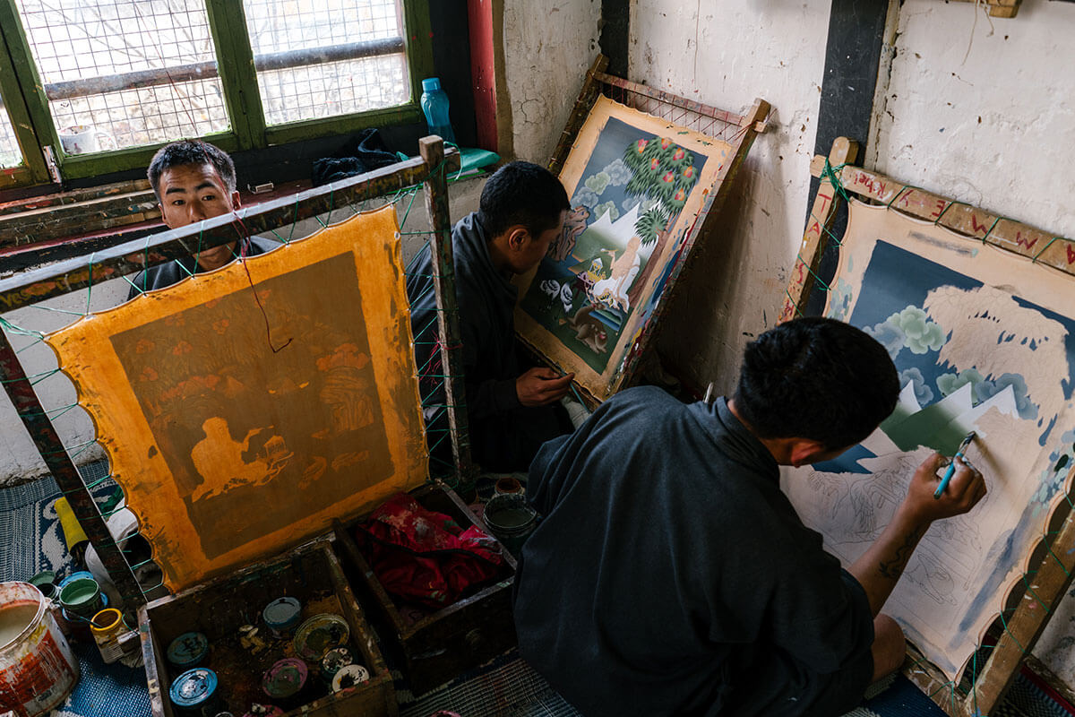 Images from the Choki Traditional Art School, a school established in 1999 on the outskirts of Thimphu, Bhutan, for underprivileged children to learn painting, wood carving, weaving and embroidery.
