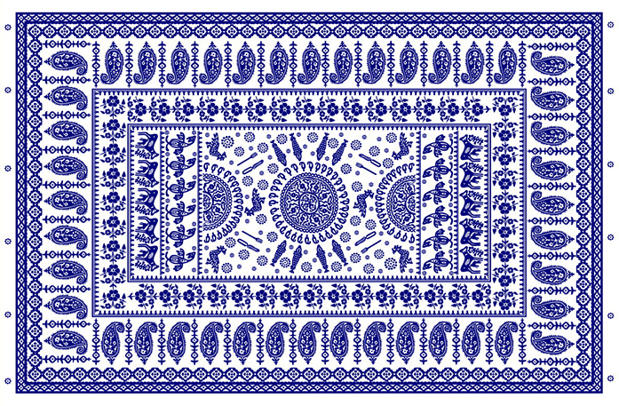 A traditional-style Georgian blue tablecloth created at the Tbilisi State Academy of Arts.