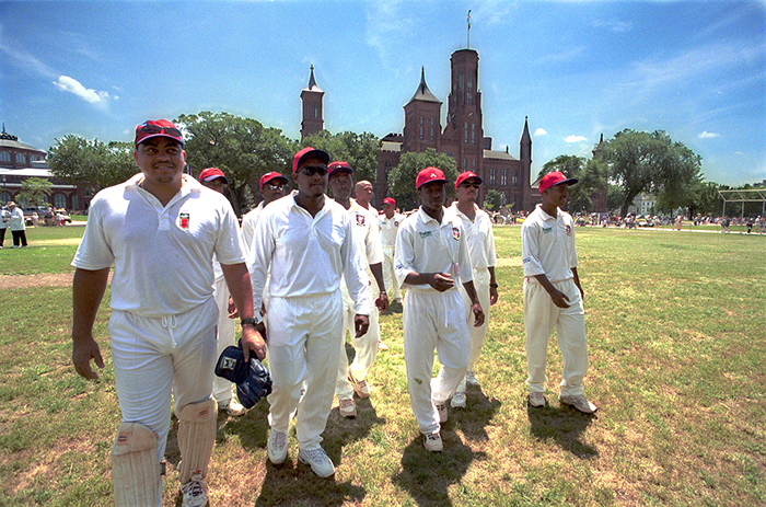 Bermuda participants play cricket at the 2001 Smithsonian Folklife Festival.