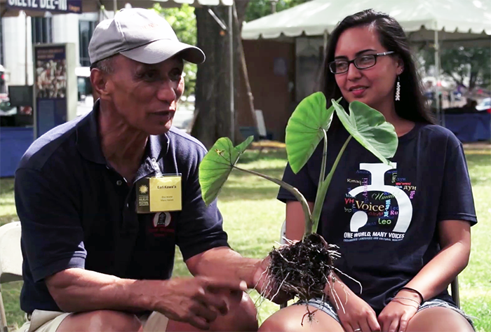 Ka'ai and her uncle Earl Kawa'a, a taro farmer and therapist, explain the central role of the taro plant in the Hawaiian creation story and the importance of storytelling to the preservation of the Hawaiian language.