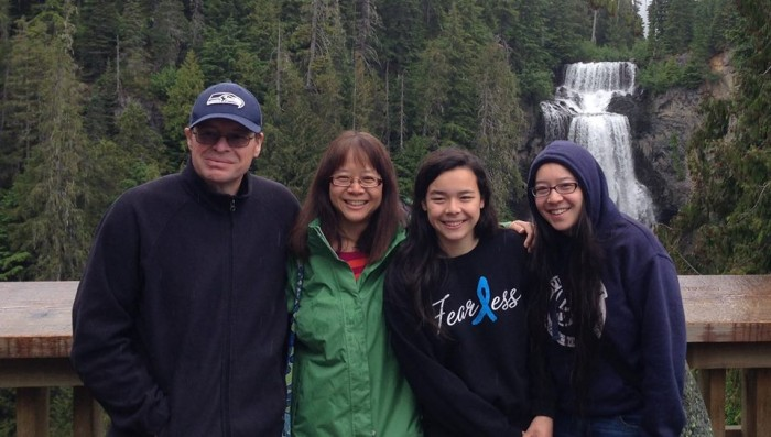The Cunningham family visiting Brandywine Falls, B.C., in 2014.