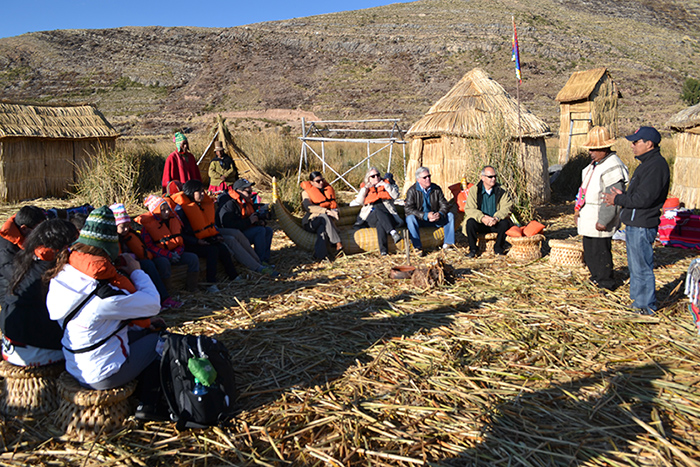 Convening on Totora Island, made entirely of reeds.
