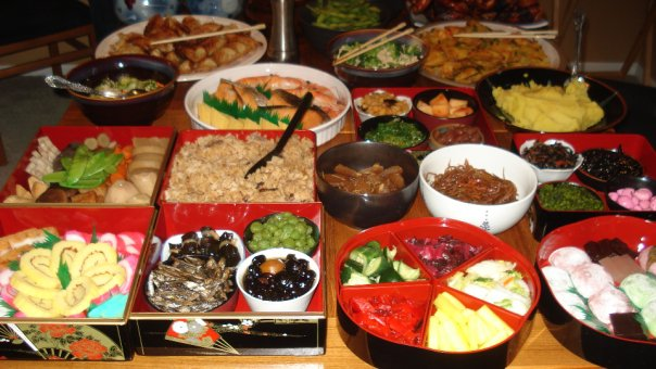 Traditional new year's food at the Asamoto/Tashima <em>oshogatsu</em>.