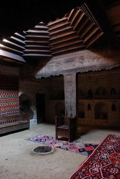 Interior of a Darbazi house from Kakheti, Georgia, at the house-exhibit of G. Chitaia Open Air Ethnographic Museum.