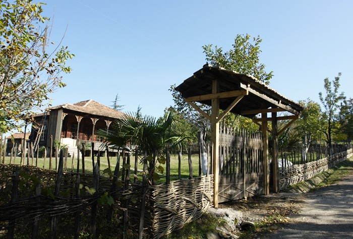 Wattled fence and a roofed gate of an oda house from Samegrelo, Georgia, at the house-exhibit of G. Chitaia Open Air Ethnographic Museum.