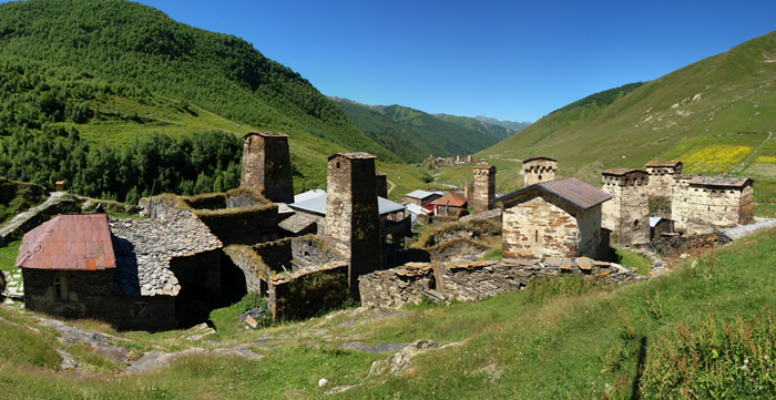 Ushguli village, the highest settlement in Europe, in Svaneti, Georgia.