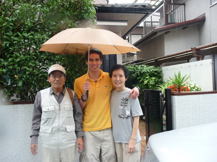 Ray Parker visiting his grandfather, Masamitchi Okada, and grandmother, Kuniko Okada, in Hyogoken, Japan, July 2012.