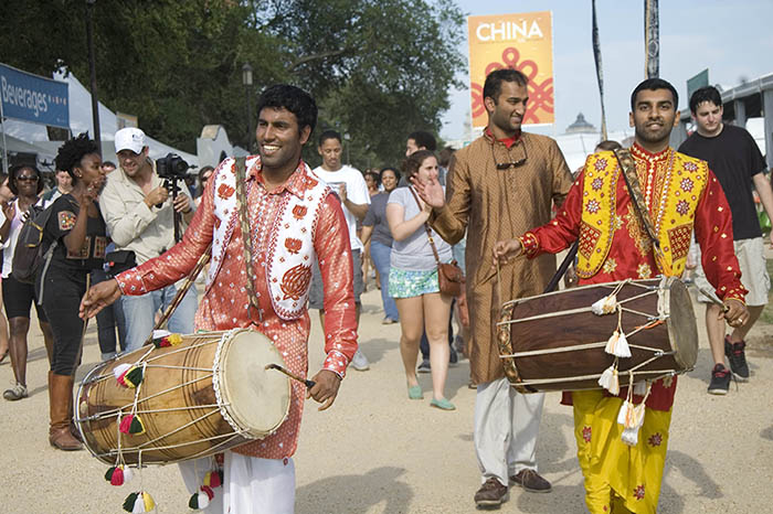 Members of the South Asian Performing Arts Network and Institute, based in Washington, D.C., perform at the 2014 Smithsonian Folklife Festival.