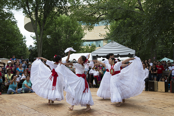 A Marinera dance school from Virginia performs on La Plaza.