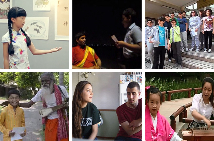 Screenshots from a few of the winning videos in the 2014 Global Folklorist Challenge.