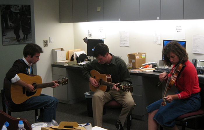 Douglas Peach, Folkways marketing director David Horgan, and Emily Hilliard—then a Folkways intern and now state folklorist of West Virginia—jamming in the Folkways offices.