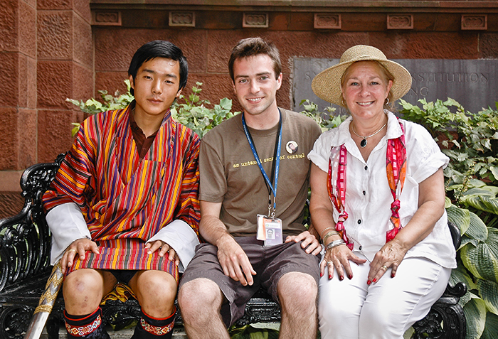 His Royal Highness Prince Jigyel Ugyen Wangchuck, Douglas Peach, and May Peach at the 2008 Folklife Festival.