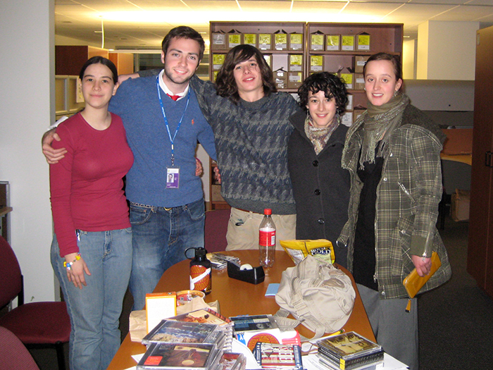 Center for Folklife and Cultural Heritage interns in January 2008: Rachel Rose Colwell, Douglas Peach, Roby Moulton, Rachel Meketon, and Isa Aha.