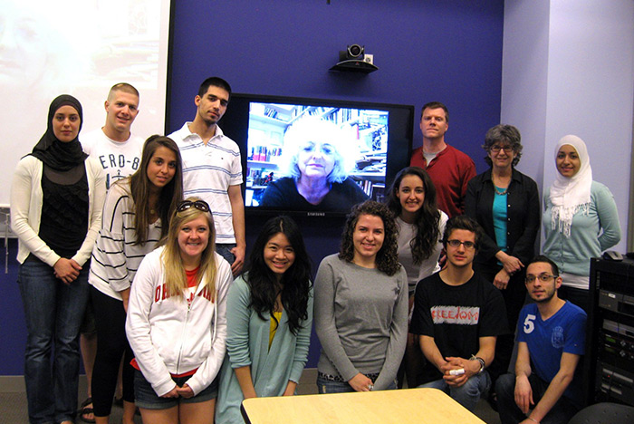 Living Jerusalem students meet in video conference with Galit Hasan-Rokem, who served as the Israeli research director for the Jerusalem program in 1992-93.