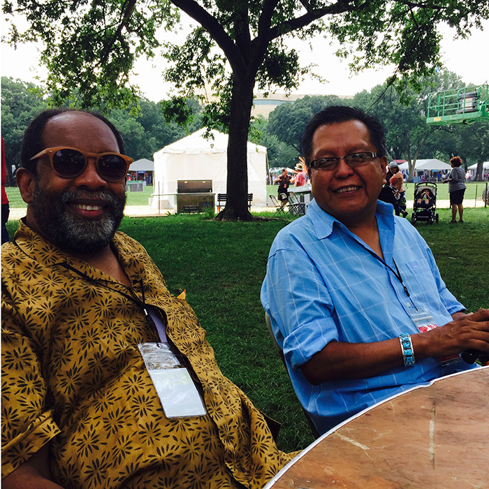 At the 2015 Folklife Festival, former Folklife curator and current GALATIC collaborator James Early enjoyed the sights with Navajo Tech dean Wesley Thomas.