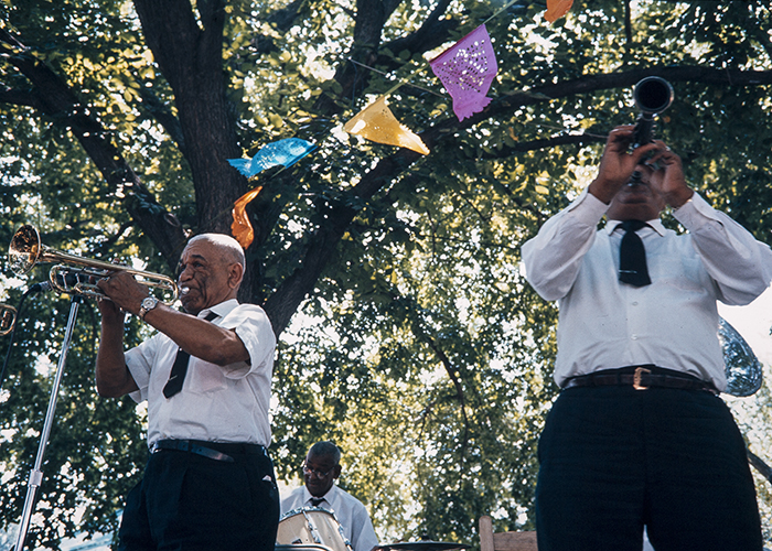 New Orleans jazz band playing at the 1968 Folklife Festival. Ralph Rinzler Folklife Archives