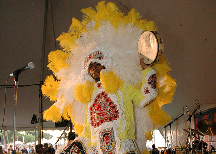 Big Chief Monk Boudreaux of the Golden Eagles Mardi Gras Indian Tribe at the 2006 Folklife Festival. Photo by David Hobson, Ralph Rinzler Folklife Archives