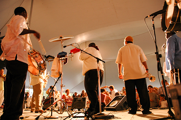 The Hot 8 Brass Band performs at the Been in the Storm So Long evening concert at the 2006 Smithsonian Folklife Festival. Photo by David Hobson, Ralph Rinzler Archives