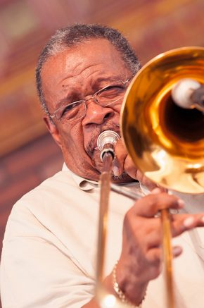 Trombonist Fred Wesley, former part of James Brown's band and now the leader of the New JBs, at the 2011 Folklife Festival.