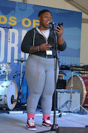 Bay Area Youth Speaks poet Ebony Donnley at the 2016 Folklife Festival. Photo by Ravon Ruffin, Ralph Rinzler Folklife Archives